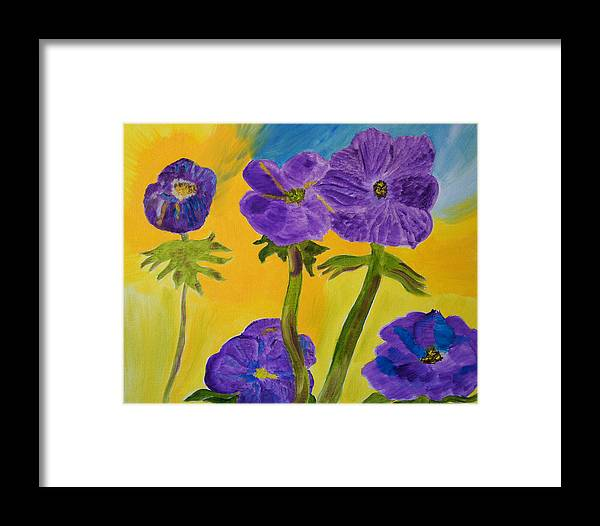 Purple Framed Print featuring the painting Birthday Memory by Meryl Goudey