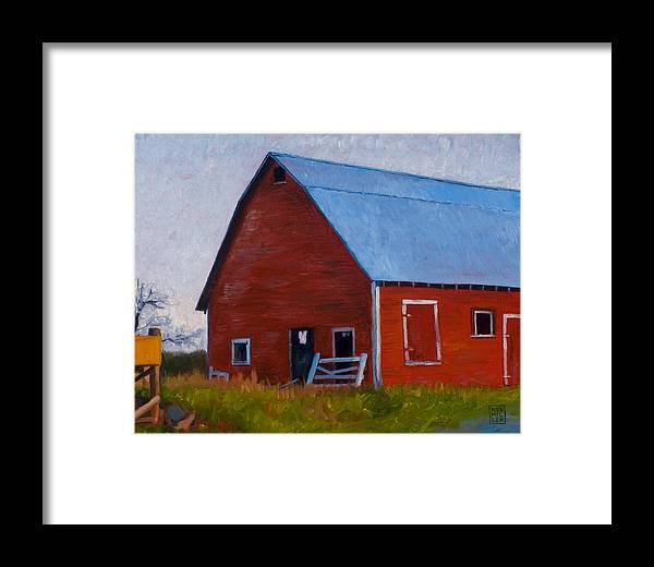 Farm Framed Print featuring the painting Bishop Barn by Stacey Neumiller