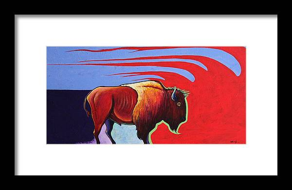 Bison Framed Print featuring the painting Bison in the Winds of Change by Joe Triano