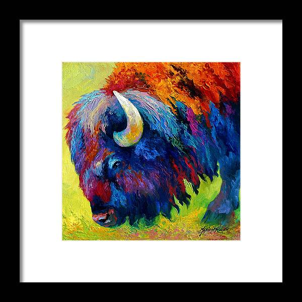 Wildlife Framed Print featuring the painting Bison Portrait II by Marion Rose
