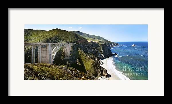 Bixby Bridge Framed Print featuring the photograph Bixby Bridge Near Big Sur On Highway One In California by Artist and Photographer Laura Wrede