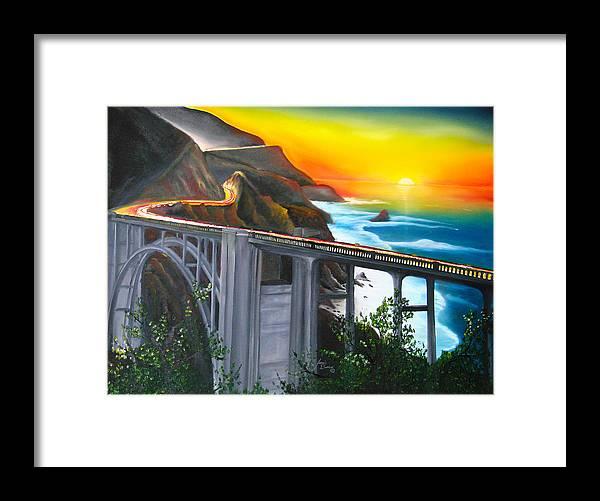 Beautiful California Sunset! Framed Print featuring the painting Bixby Coastal Bridge Of California At Sunset by Dunbar's Local Art Boutique