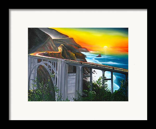 Beautiful California Sunset! Framed Print featuring the painting Bixby Coastal Bridge Of California At Sunset by Portland Art Creations