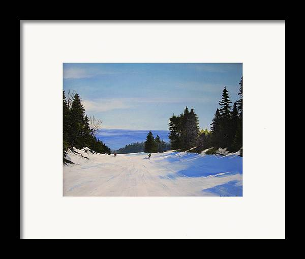 Ski Framed Print featuring the painting Black And Blue by Ken Ahlering