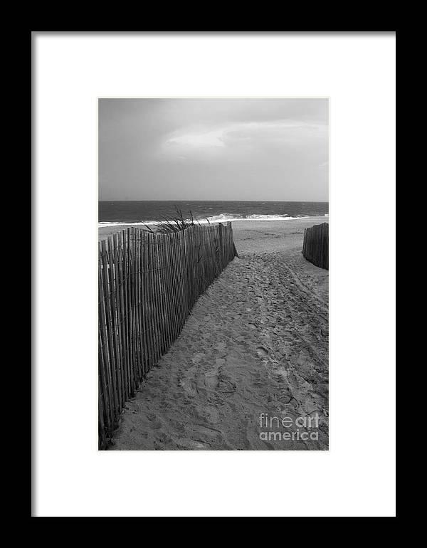 Dewey beach framed print featuring the photograph black and white beach scene by arlene carmel