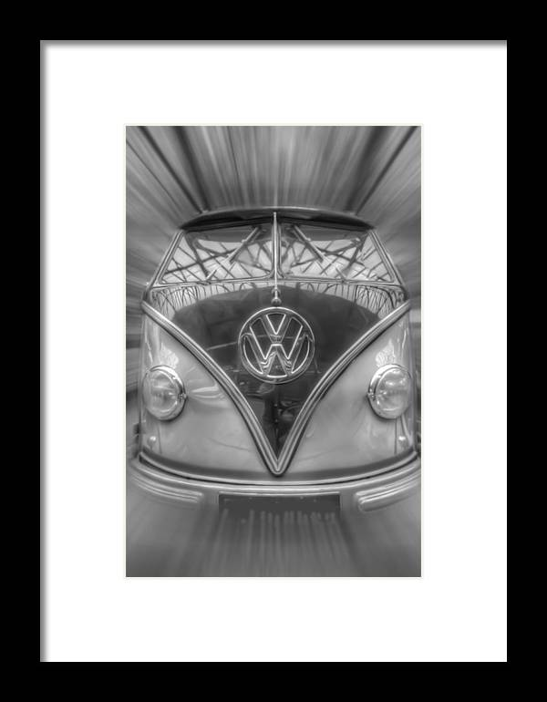 Retro Framed Print featuring the digital art Black And White Dub by Nathan Wright