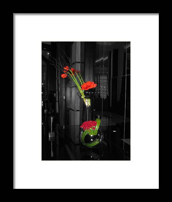 Black And White Floral Arrangement With Red Color Splash Framed