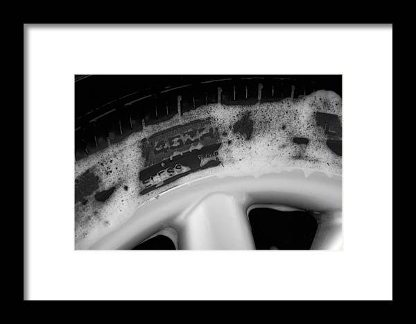 Black & White Framed Print featuring the photograph Black And White Mini-cooper Soapy Wheel by Nicole Berna