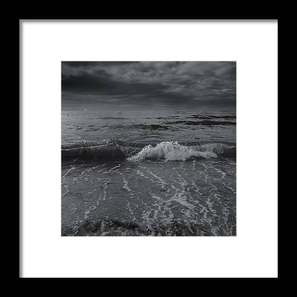 Ocean Wave Framed Print featuring the photograph Black And White Ocean Wave 2014 by Dapixara Art