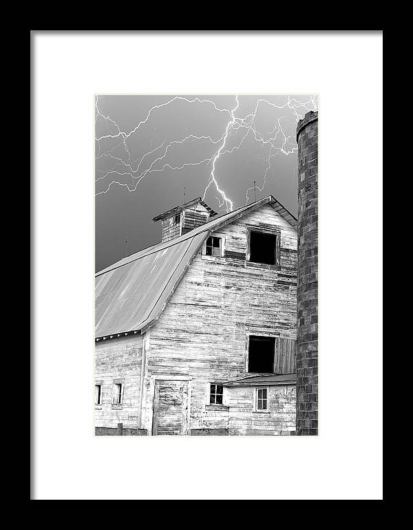 Lightning Framed Print featuring the photograph Black And White Old Barn Lightning Strikes by James BO Insogna