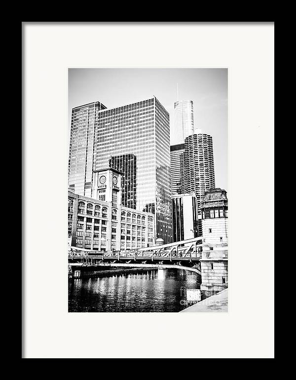 America Framed Print featuring the photograph Black And White Picture Of Chicago At Lasalle Bridge by Paul Velgos