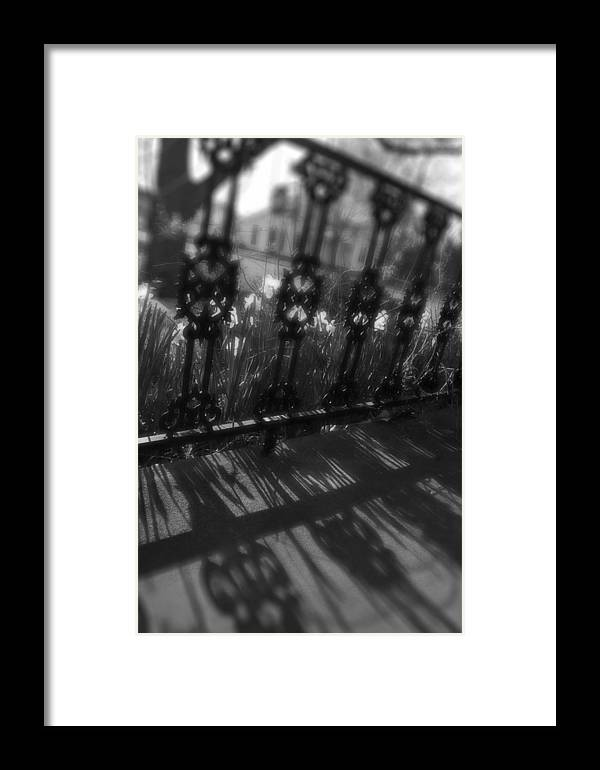 Black And White Framed Print featuring the photograph Black And White Wrought-iron Porch by Nicole Berna