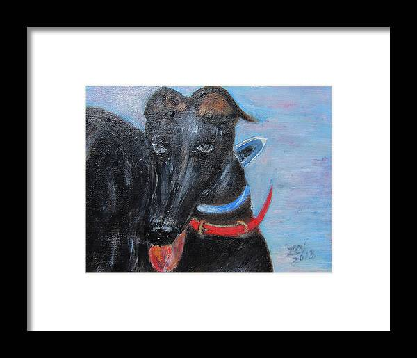 Black Greyhound Framed Print featuring the painting Black Beauty by Lucille Valentino