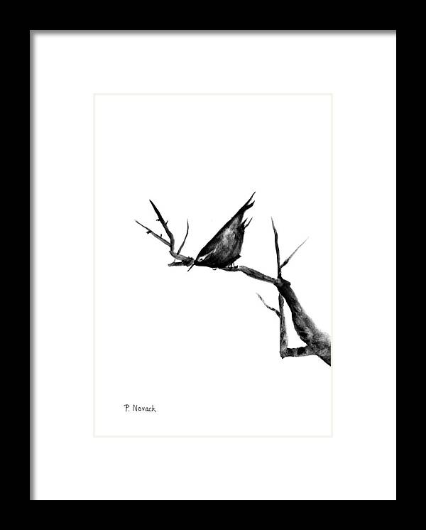 Bird Framed Print featuring the painting Black Bird On A Branch by Patricia Novack