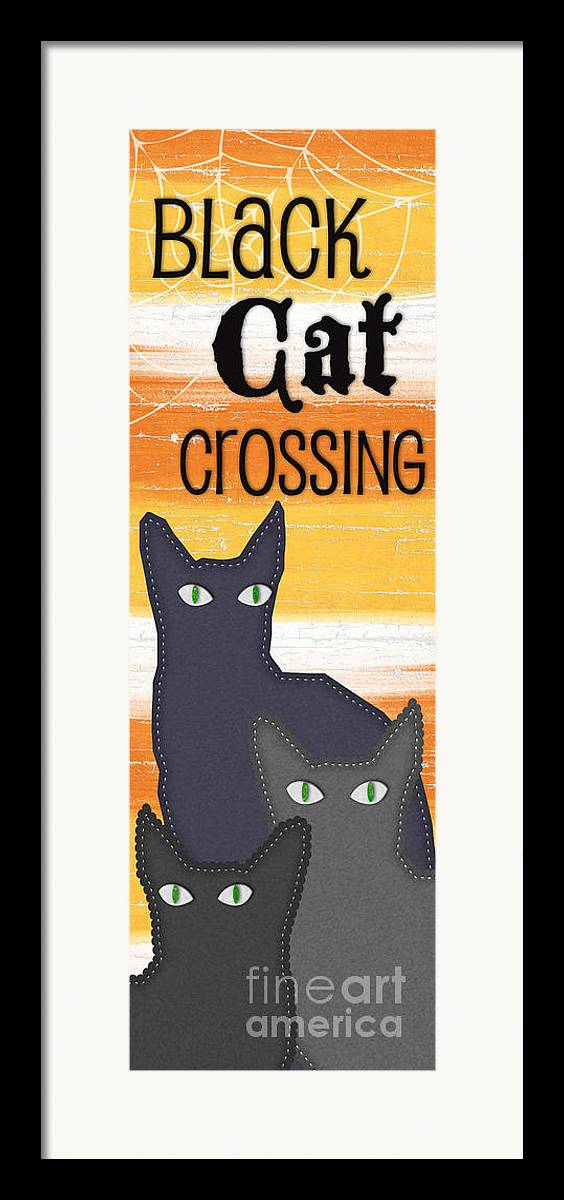Cat Framed Print featuring the painting Black Cat Crossing by Linda Woods