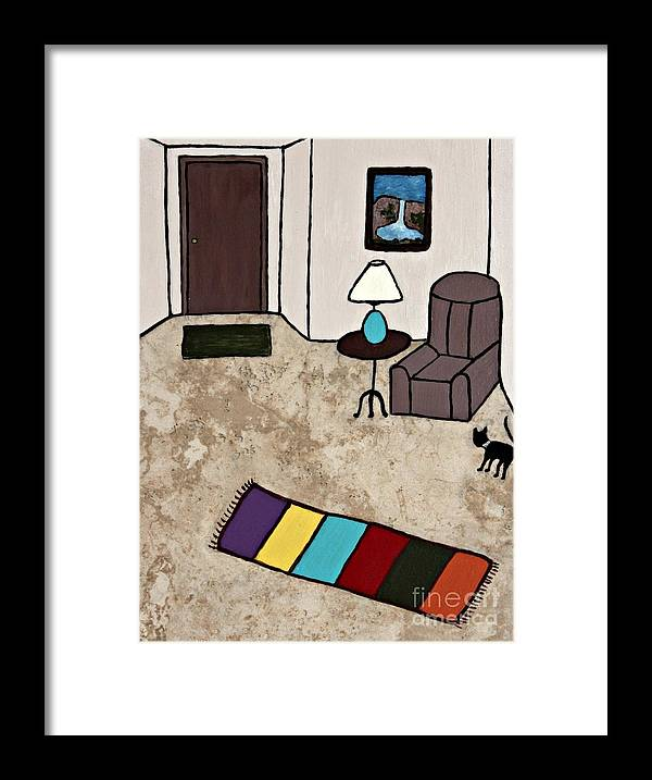 Folk Art Framed Print featuring the painting Essence Of Home - Black Cat Entering Living Room by Sheryl Young