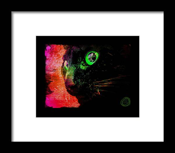Black Cat Framed Print featuring the digital art Black Cat Neon by Absinthe Art By Michelle LeAnn Scott