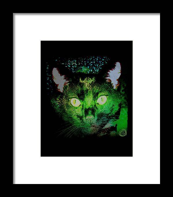 Black Cat Framed Print featuring the digital art Black Cat Night Vision by Absinthe Art By Michelle LeAnn Scott