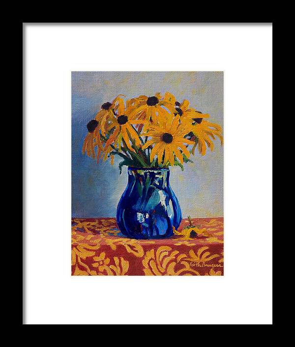 Impressionism Framed Print featuring the painting Black Eyed Susans by Keith Burgess