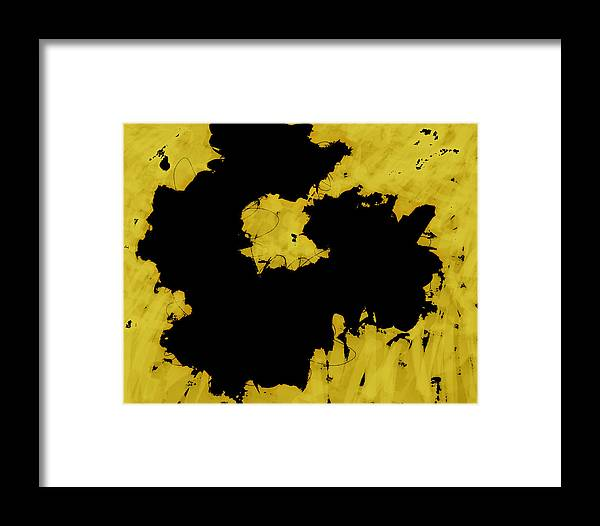 Abstract Framed Print featuring the digital art Black Gold - Abstract -art by Ann Powell