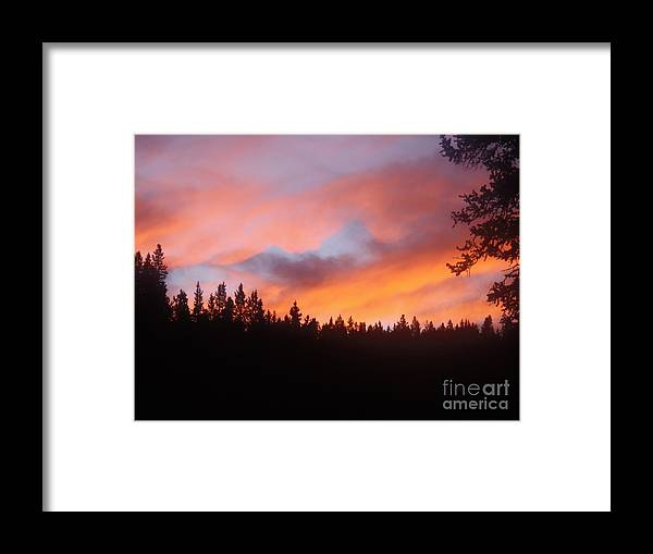 Clouds Trees Landscape Mountains Framed Print featuring the mixed media Black Mountain Sunset by Tammy McDougall
