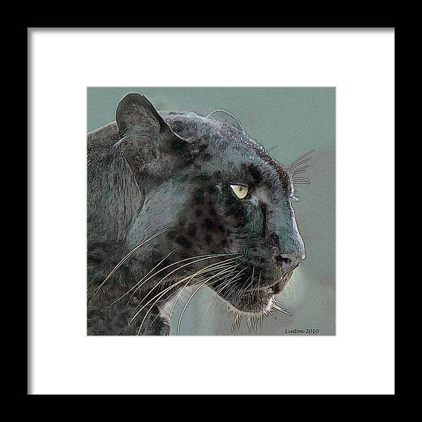 Leopard Framed Print featuring the digital art Black Panther by Larry Linton