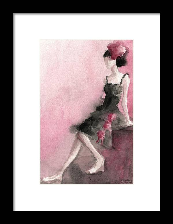 Fashion Framed Print featuring the painting Black Ruffled Dress With Roses Fashion Illustration Art Print by Beverly Brown Prints