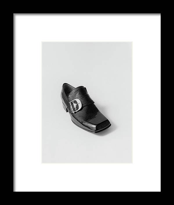 Accessories Framed Print featuring the photograph Black Shoe by Leonard Nones