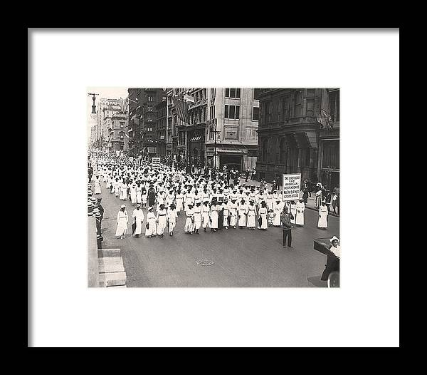 1910's Framed Print featuring the photograph Black Silent Protest March by Underwood Archives
