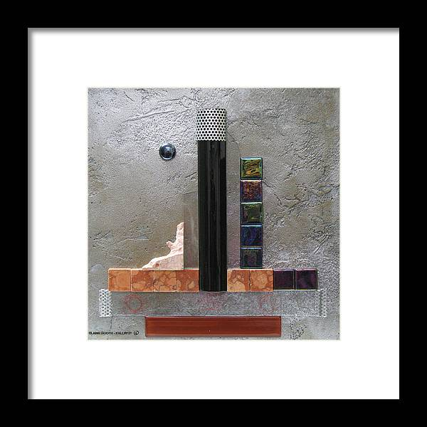 Assemblage Framed Print featuring the relief Black Tower by Elaine Booth-Kallweit