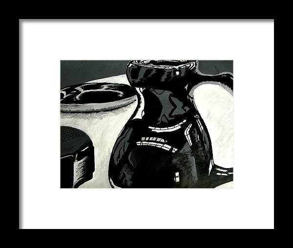 Black Vase Framed Print featuring the painting Black Vase by Troy Howard