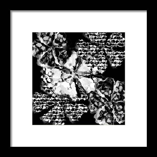 Abstract Digital Art Black Framed Print featuring the digital art Black White And Gray by Gayle Price Thomas