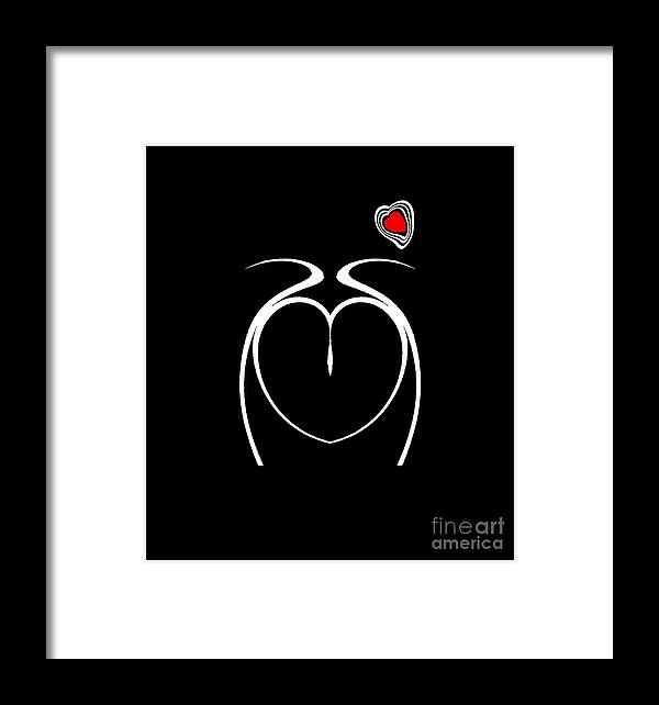 Black And White And Red Abstract Art Framed Print featuring the digital art Black White Red Minimalist Abstract Art No.217. by Drinka Mercep
