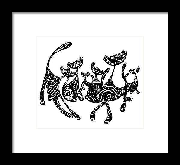 Cats Framed Print featuring the drawing Blackcats by Dreja Novak
