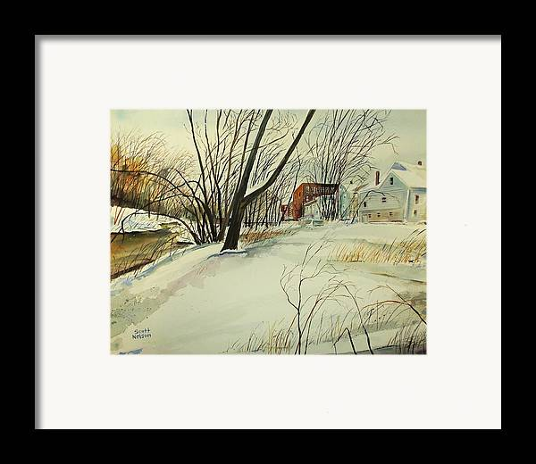 Watercolor Framed Print featuring the painting Blackstone River Snow by Scott Nelson