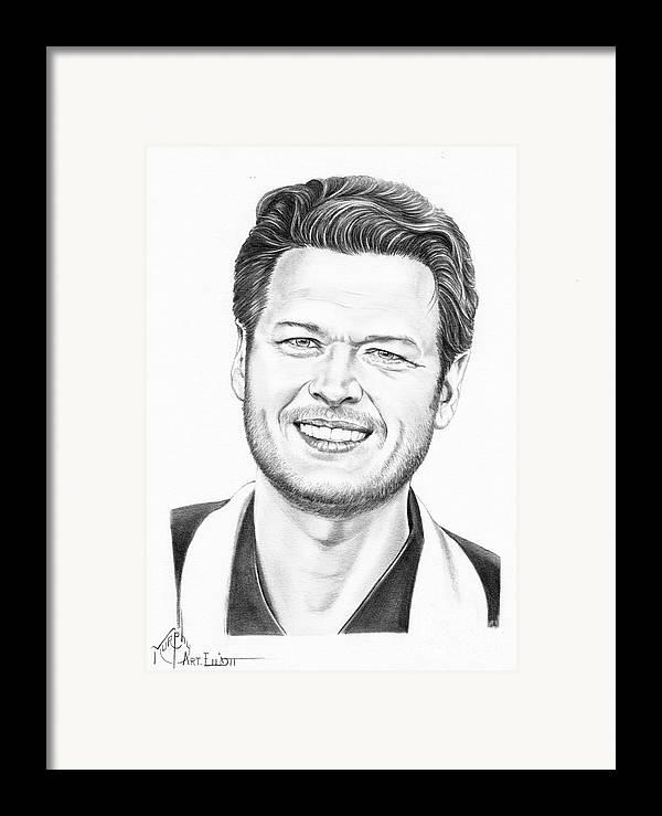 Pencil Framed Print featuring the drawing Blake Shelton by Murphy Elliott