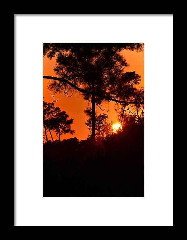 Sunset Framed Print featuring the photograph Blazing Sunset by DigiArt Diaries by Vicky B Fuller