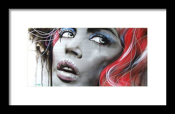 Portrait Framed Print featuring the painting Bleeding Rose by Christian Chapman Art