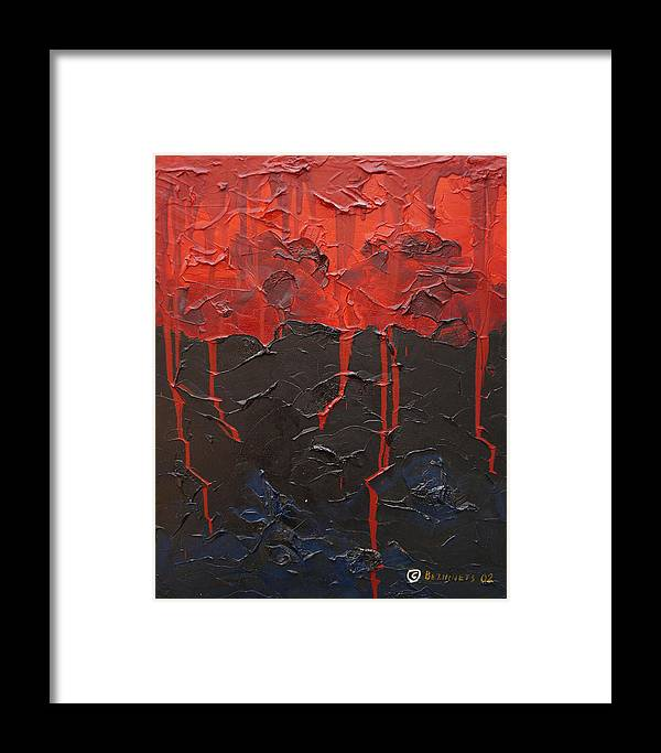 Fantasy Framed Print featuring the painting Bleeding Sky by Sergey Bezhinets