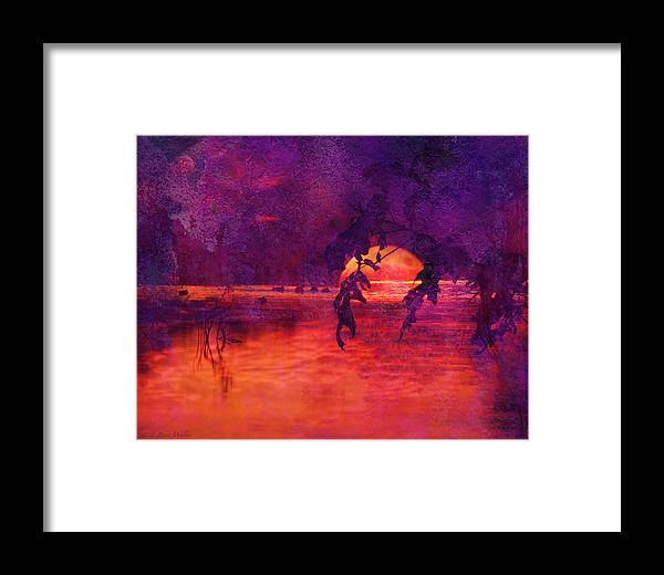 J Larry Walker Framed Print featuring the digital art Bleeding Sunrise Abstract by J Larry Walker