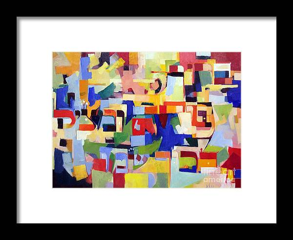 Creativity Framed Print featuring the painting Blessed Is He Who Redeems And Rescues 2 by David Baruch Wolk