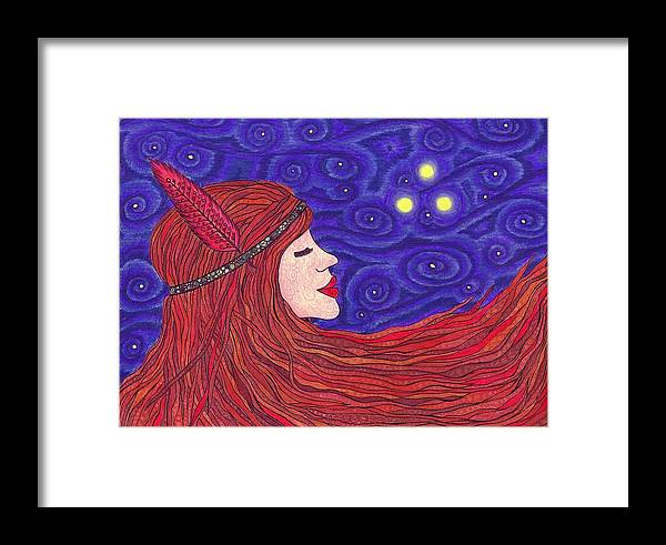 Indian Girl Framed Print featuring the drawing Blind Faith by Holly Walker