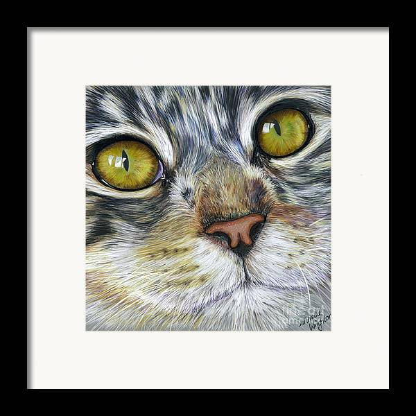 Cats Framed Print featuring the painting Stunning Cat Painting by Michelle Wrighton