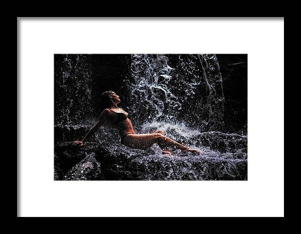 Mauritius Framed Print featuring the photograph Bliss. Anna At Eureka Waterfalls. Mauritius by Jenny Rainbow