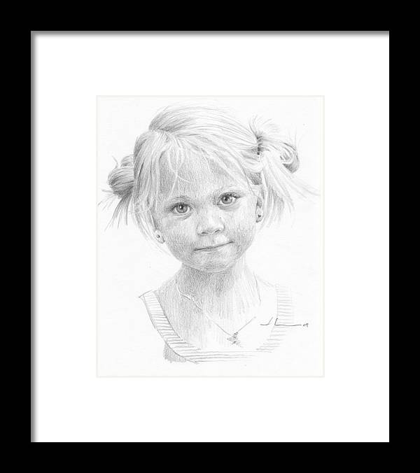 <a Href=http://miketheuer.com Target =_blank>www.miketheuer.com</a> Blonde Girl Pencil Portrait Framed Print featuring the drawing Blonde Girl Pencil Portrait by Mike Theuer