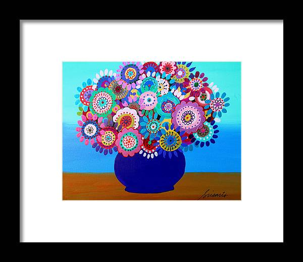 Blooms Framed Print featuring the painting Blooming Florals 1 by Pristine Cartera Turkus