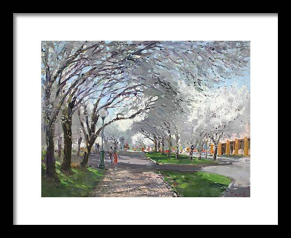 Blooming Trees Framed Print featuring the painting Blooming In Niagara Park by Ylli Haruni