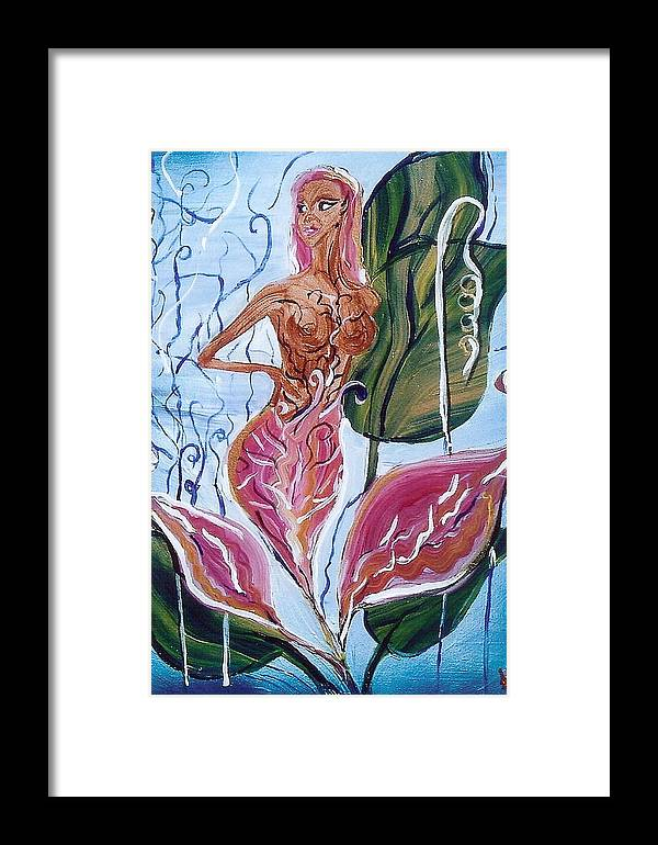 Expressive Framed Print featuring the painting Blooming by Lorena Fernandez