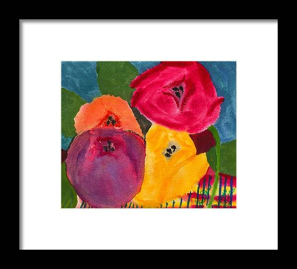 Tulips Framed Print featuring the painting Blooms by Ann Marie Noyman