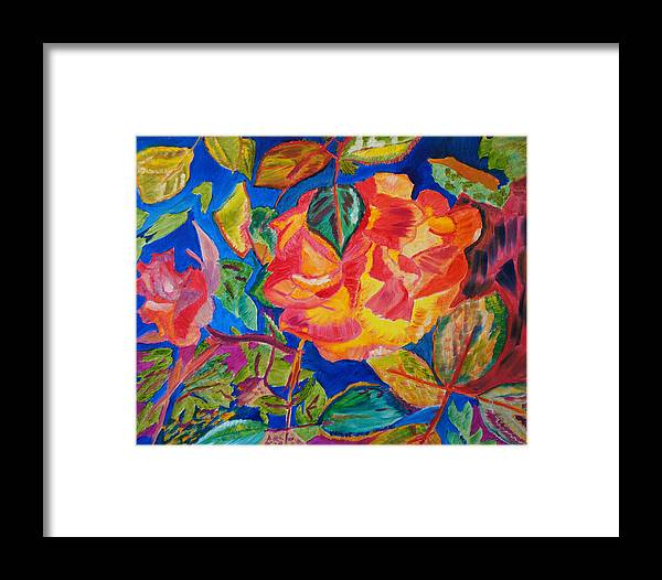 Flowers Framed Print featuring the painting Blossoms Aglow by Meryl Goudey